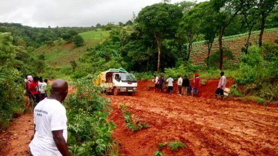 Truck heading up the road to Usisya, Malawi