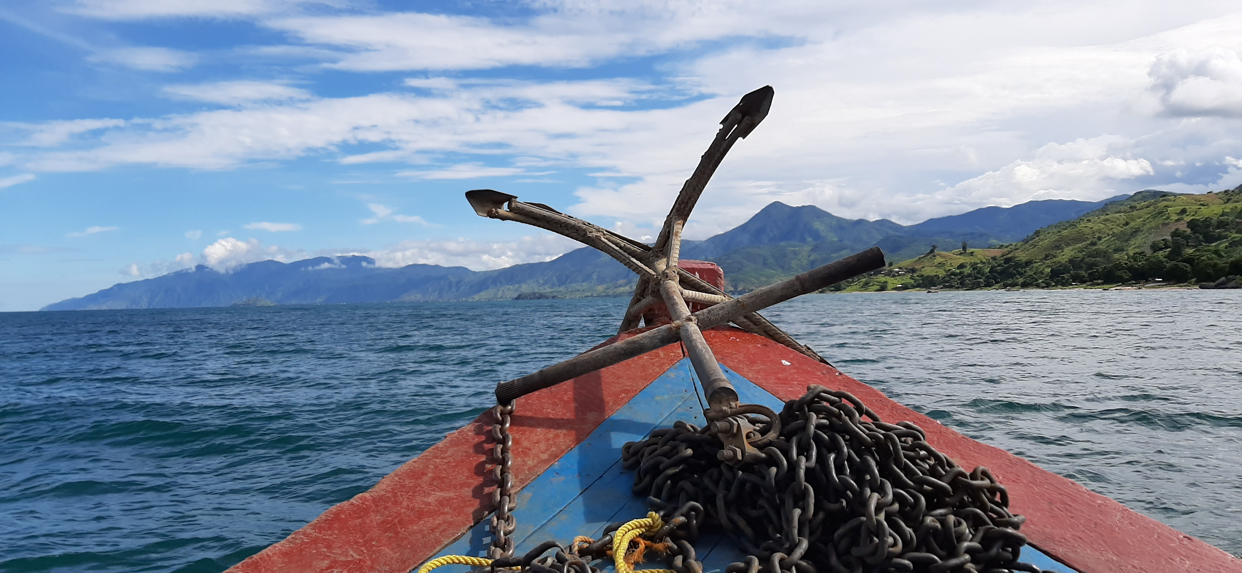 View from the front of a small boat on Lake Malawi